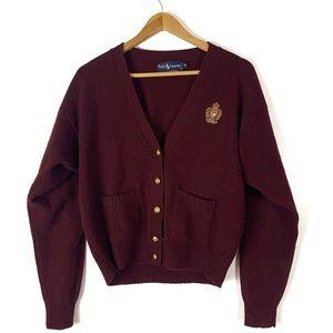 VTG Ralph Lauren 100% Lambswool Crested Cardigan